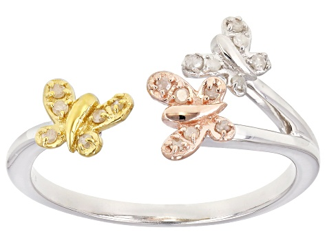 Pre-Owned White Diamond Rhodium And 14K Yellow Gold And Rose Gold Over Sterling Silver Ring .10ctw