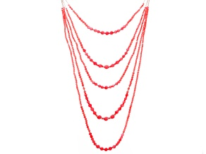 Pre-Owned Pink Coral Rhodium Over Sterling Silver Multi-Strand Necklace 18 inch