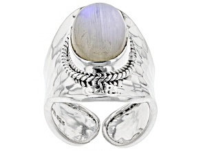 Pre-Owned Multi Color Rainbow Moonstone Sterling Silver Adjustable Solitaire Ring