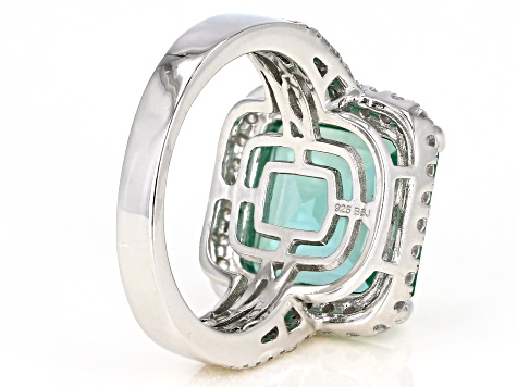 Pre-Owned Synthetic Green Spinel And White Cubic Zirconia Rhodium Over Sterling Silver 9.10CTW