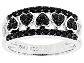 Pre-Owned Black spinel rhodium over silver band ring. .39ctw