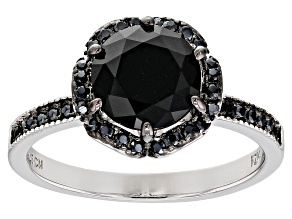 Pre-Owned Black Spinel Rhodium Over Sterling Silver Ring 2.64ctw