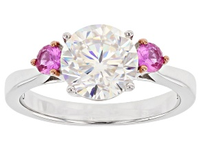 Pre-Owned Fabulite Strontium Titanate Sterling And Lab Created Pink Sapphire Silver Ring 4.72ctw