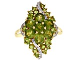 Pre-Owned Green vesuvianite 18k yellow gold over silver ring 3.48ctw