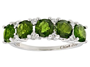 Pre-Owned Green Russian Chrome Diopside Rhodium Over Sterling Silver Ring 2.53ctw