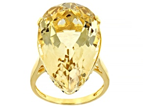 Pre-Owned Yellow Citrine 18k Gold Over Silver Ring 20.26ctw