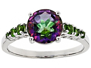 Pre-Owned Green Mystic Topaz(R) rhodium over silver ring 2.13ctw