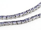 Pre-Owned Blue Tanzanite Sterling Silver Tennis Necklace 14.55ctw