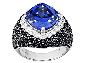 Pre-Owned Blue White And Black Cubic Zirconia Rhodium Over Silver Ring 13.70ctw