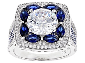 Pre-Owned Lab Created Sapphire & White Cubic Zirconia Rhodium Over Sterling Silver Ring 7.13ctw
