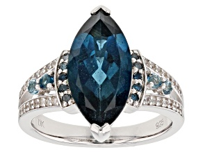 Pre-Owned Blue topaz rhodium over silver ring 4.19ctw