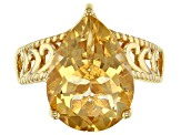 Pre-Owned Yellow golden citrine 18k gold over silver ring 5.83ct