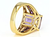 Pre-Owned Bi-Color Ametrine 18k Yellow Gold Over Silver Ring 5.34ctw