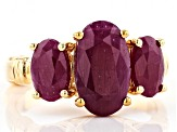 Pre-Owned Red ruby 18k yellow gold over silver 3-stone ring 5.75ctw