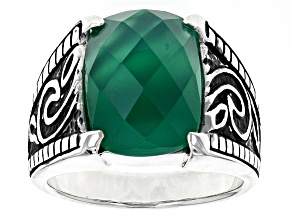 Pre-Owned Green Agate Sterling Silver Ring