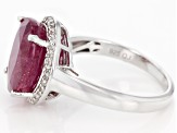 Pre-Owned Red ruby sterling silver ring 5.19ctw
