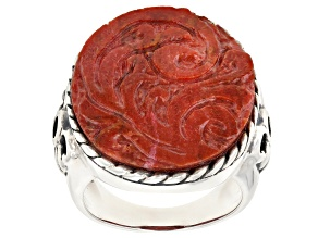 Pre-Owned Red Coral Sterling Silver Ring