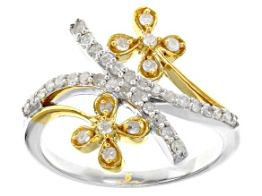 Pre-Owned White Diamond Rhodium And 14k Yellow Gold Over Sterling Silver Ring .40ctw