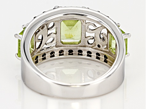 Pre-Owned Green peridot rhodium over silver ring 1.38ctw