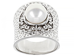 Pre-Owned 9.5-10mm Cultured Freshwater Pearl with 0.02ctw Zircon Rhodium Over Sterling Silver Hammer
