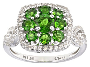 Pre-Owned Green Chrome Diopside Rhodium Over Silver Ring 2.51ctw