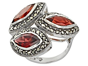 Pre-Owned Red Garnet And Marcasite Sterling Silver Ring. 5.46ctw
