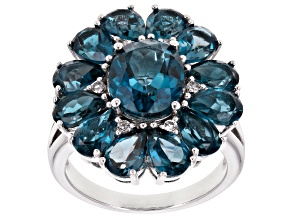 Pre-Owned London blue topaz rhodium over silver ring 7.99ctw