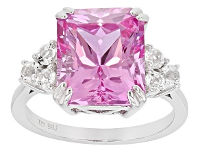 Pre-Owned Pink Lab Created Sapphire Sterling Silver Ring 7.85ctw