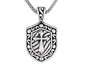 Pre-Owned Oxidized Sterling Silver Cross Medal Pendant With Popcorn Chain 18 Inch
