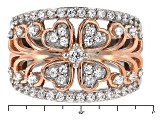 Pre-Owned Cubic Zirconia Silver And 18k Rose Gold Over Silver Ring 1.63ctw (.86ctw DEW)