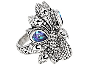 Pre-Owned Sheer Luck™ Mystic Topaz® Silver Peacock Ring 1.44ctw