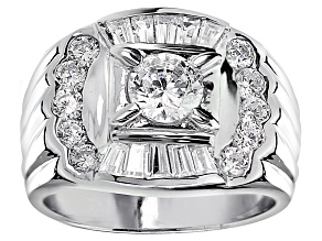 Pre-Owned Bella Luce® Diamond Simulant Rhodium Over Silver Gents Ring 3.11ctw