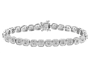 Pre-Owned Diamond Rhodium Over Brass Bracelet .10ctw