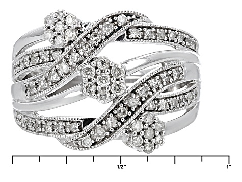 Pre-Owned White Diamond Rhodium Over Stelring Silver Ring .50ctw