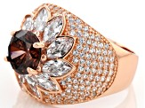 Pre-Owned Brown and White Cubic Zirconia 18k Rose Gold Over Sterling Silver Ring 8.49ctw