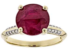 Pre-Owned Red Ruby 10k Gold Ring 5.14ctw