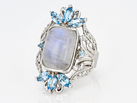 Pre-Owned White Rainbow Moonstone Rhodium Over Silver Ring 1.94ctw