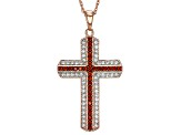 Pre-Owned Red And White Cubic Zirconia 18k Rose Gold Over Sterling Silver Pendant With Chain 1.76ctw