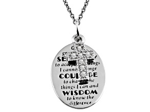 Pre-Owned .10ctw White Diamond Sterling Silver Cross inspirational Pendant With Chain