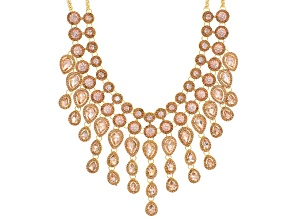 Pre-Owned Pink Crystal Gold Tone Statement Necklace