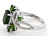 Pre-Owned Green chrome diopside rhodium over silver ring 2.82ctw