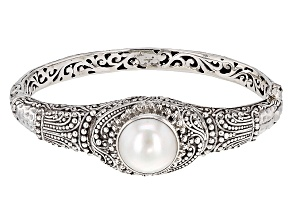 Pre-Owned Pearl Mabe Silver Bangle Bracelet