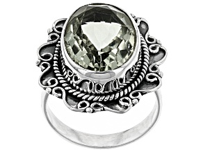 Pre-Owned Green Brazilian Prasiolite Sterling Silver Ring 8.00ct