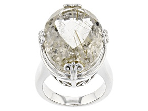 Pre-Owned Brown Rutilated Quartz Sterling Silver Ring 18.05ct
