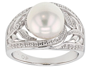 Pre-Owned 9-10mm White Cultured Freshwater Pearl, Rhodium Over Sterling Silver Ring