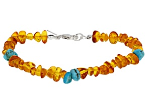 Pre-Owned Orange Amber nugget Bracelet Strand