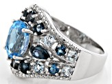 Pre-Owned Swiss blue topaz rhodium over silver ring 3.80ctw