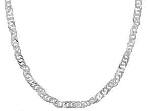 Pre-Owned Sterling Silver Diamond Cut Singapore Chain Necklace 24 inch