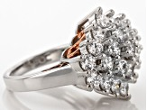 Pre-Owned Cubic Zirconia Silver And 18k Rose Gold Over Silver Ring 6.92ctw (3.91ctw DEW)