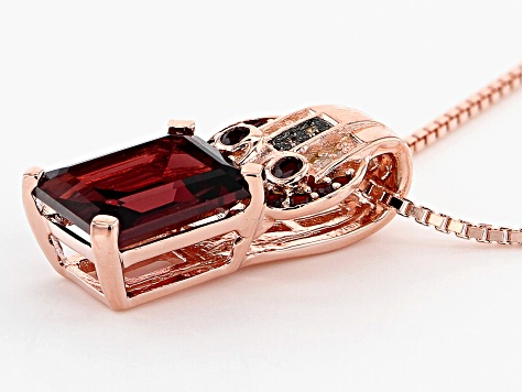 Pre-Owned Red garnet 18k rose gold over sterling silver pendant/slide  with chain 2.56ctw